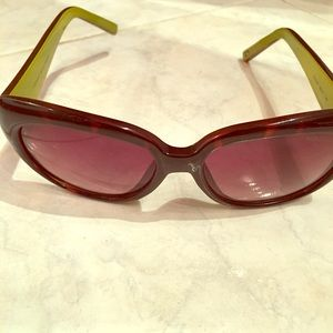 Brown W/Green Inside Trim Sunglasses